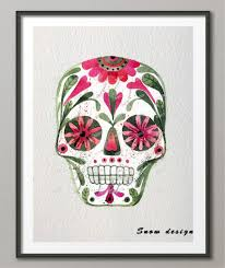 day of the dead home decor original watercolor mexican sugar skull day of the dead canvas