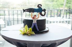 bodybuilder groom u0027s cake and blooming wedding cake