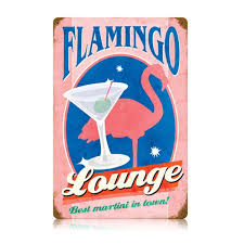 pink martini poster pink flamingo lounge martinis steel sign bar signs retroplanet com