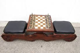 Chess Table by Mid Century Modern Witco Sculpted Swamp Cedar Chess Table With