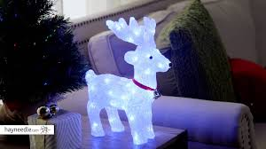 Lighted Santa And Reindeer Outdoor by 13 In Lighted White Indoor Outdoor Reindeer With Led Lights