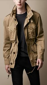 burberry brit heritage cotton field jacket in brown for men lyst