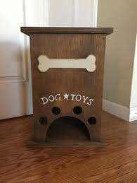 pet toy box handmade wood dog cat storage with bone paw print