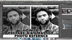 how to prepare black and grey tattoo photo reference adobe