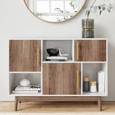 white storage cabinet for kitchen ellipse multipurpose storage cabinet with display shelves and doors entryway modern buffet or kitchen sideboard with glam gold brass accent