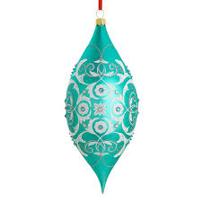 intaglio teardrop blown glass ornament crane