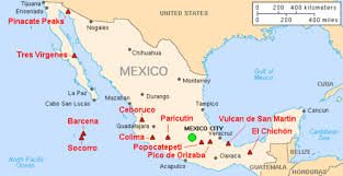 map of mexico with states list of volcanoes in mexico