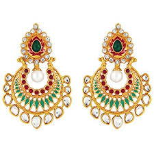 dangler earrings buy parisha jewells er7090027 kundan gold plated artificial