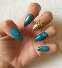 set of 20 mix match gold teal glitter rhinestone stiletto nails