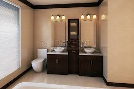 Double Vanity With Tower Furniture Pretty Mixed Metals Bathroom Upstairs Hall