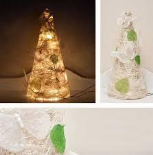 22 miniature christmas trees made with decorative fabrics lace yarn