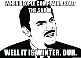 Duh Meme Face - when people complain about the snow well it is winter duh are