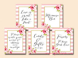 Bridal Shower Signs Pink Stripes And Floral Printable Signs Wedding Bridal Baby