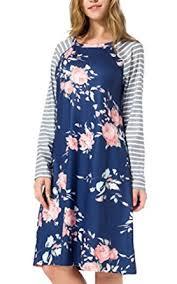 angashion women u0027s floral print casual striped long sleeve knee