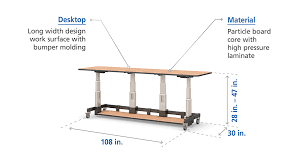 Electronic Height Adjustable Desk Single Tier Height Adjustable Long Width Computer Table