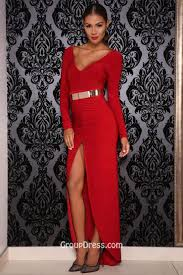 red long sleeve floor length v neck sheath prom dress with