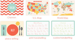kids placemats new personalized placemats for kids and educational