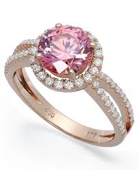 pink crystal rings images Lyst macy 39 s 14k rose gold over sterling silver ring pink cubic jpeg