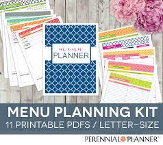 printable menu planner pages meal planner printable set 11 pages editable weekly menu plan