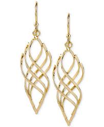 hint of gold 14k gold plated earrings polished twist drop