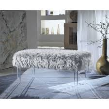 chic home samuel modern contemporary faux fur acrylic leg bench