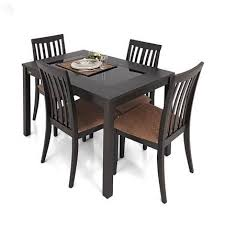 Buy Zuari Dining Table Set  Seater Wenge Finish Piru Online - Four dining room chairs