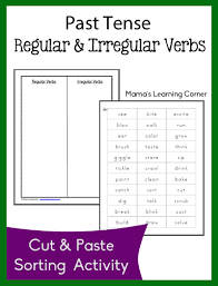 past tense regular and irregular verb sort