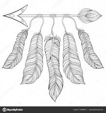 boho chic ethnic arrow with feathers freedom concept hand drawn