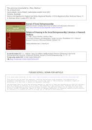 patterns of meaning in the social entrepreneurship literature a