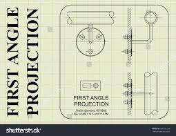 example first angle orthographic projection drawing stock