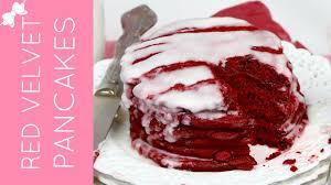 easy red velvet pancakes with cream cheese glaze lindsay ann