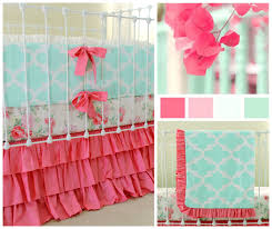 Pink And Teal Crib Bedding by Mint And Pink Baby Bedding Set For Standard Crib Featuring