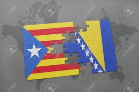 Flag Of Bosnia Puzzle With The National Flag Of Catalonia And Bosnia And