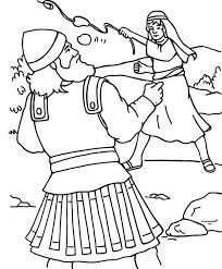 david gives goliath a smashing blow with a hand sling colouring