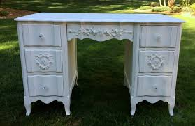 shabby chic white painted desk with roses