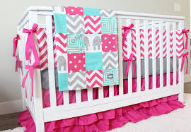 bright pink baby bedding teal pink gray crib