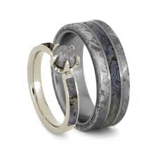 wedding ring set for dinosaur bone wedding ring set diamond ring meteorite band