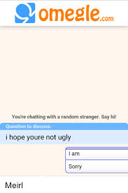 Omegle Meme - omeglecom you re chatting with a random stranger say hi question to