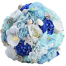Seashell Bouquet Amazon Com Marsen Wedding Bouquet With Seashell Starfish Bride