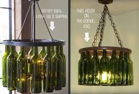 Glass Bottle Chandelier Pottery Barn Wine Bottle Chandelier Project By Brandon And Caitlin
