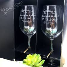 Wedding Gift Glasses Engraved Wine Glass Double Gift Boxed Set Wedding Or Corporate