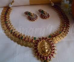 traditional antique kasu mala set designs necklace in temple