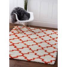 Polypropylene Area Rugs Shag Rug Shag Rug White Orange High Quality Carpet