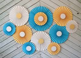 paper fan circle decorations yellow chevron white and turquoise set of 11 eleven paper fans