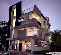 Kerala Home Design Plan And Elevation 30x40 Contemporary Three Storied Home Kerala Home Design And
