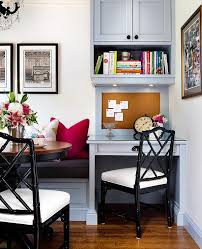 Black Banquette Gray Built In Banquette Next To Gray Built In Desk With Black