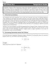 Converting Celsius To Fahrenheit Worksheets Skill Sheet 25 2 Temperature Scales