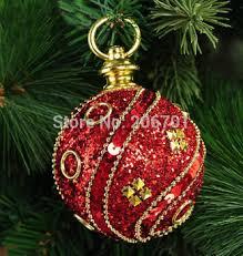 buy new 6pcs shiny red sequin christmas tree decoration 8cm foam