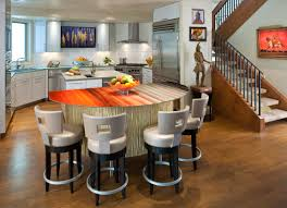 Galley Kitchens With Breakfast Bar Interior Classy White Kitchen Design With Floating Wood Breakfast