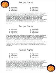 printable recipes templates printable cookbook template